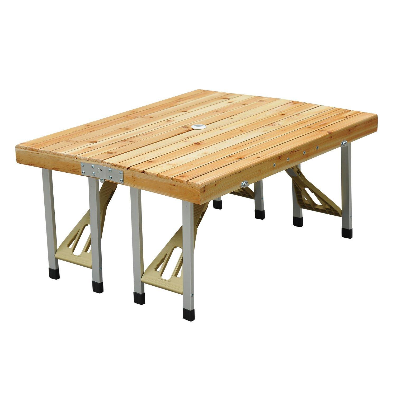 Table de camping en bois avec chaises